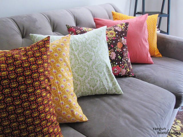 completed pillows all in a row