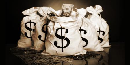 Money bag and cash