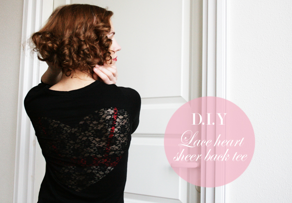lace heart sheer back tshirt labeled