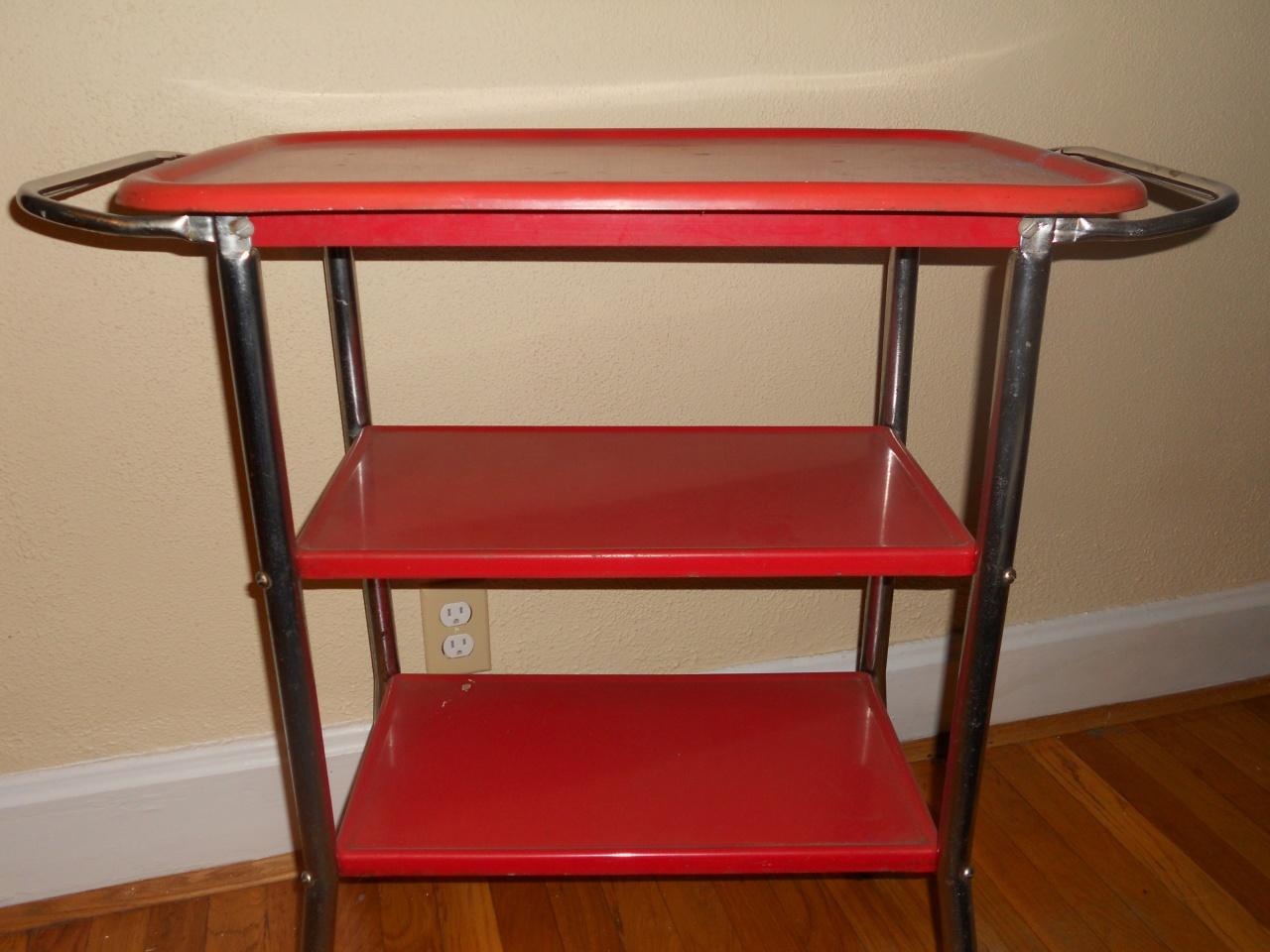 red vintage bar cart