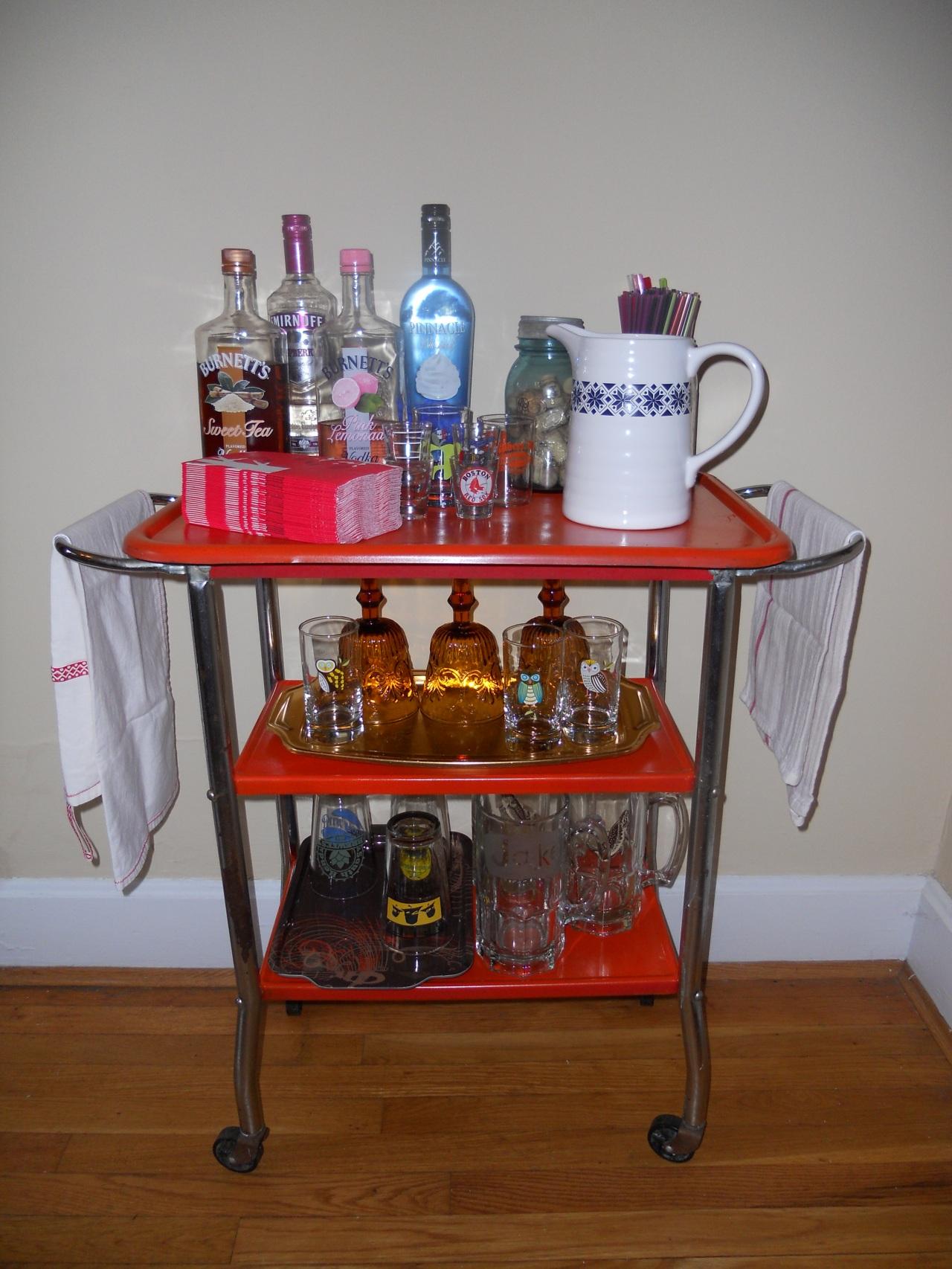 finfished bar cart